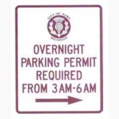 Overnight Parking Permit Required sign